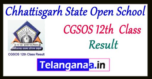CGSOS Chhattisgarh State Open School 12th Result 2018