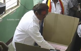 Captain Vijayakanth casts his vote