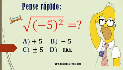 Desafio - quanto é raiz quadrada, de -5 ao quadrado?