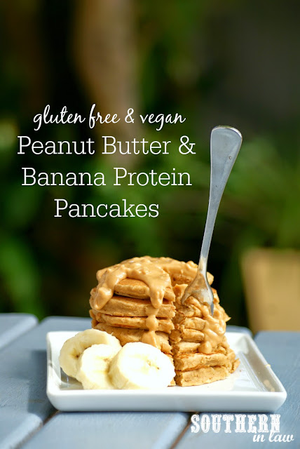 Healthy Peanut Butter and Banana Protein Pancakes Recipe  gluten free, vegan, healthy, sugar free, clean eating, low fat