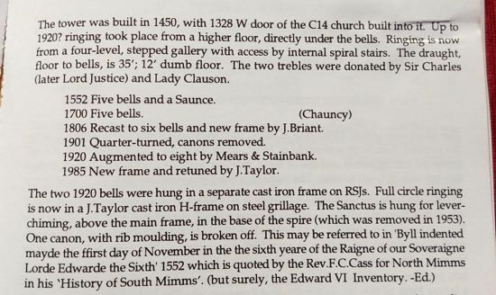 The image above taken from a book recording the history of the bells of St Mary's  Image by the North Mymms History Project, released under Creative Commons BY-NC-SA 4.0