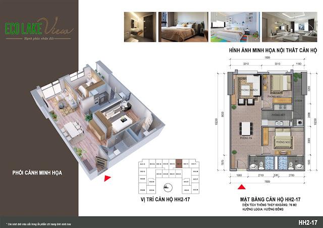 Căn hộ 17, diện tích 76m2 - 2 phòng ngủ