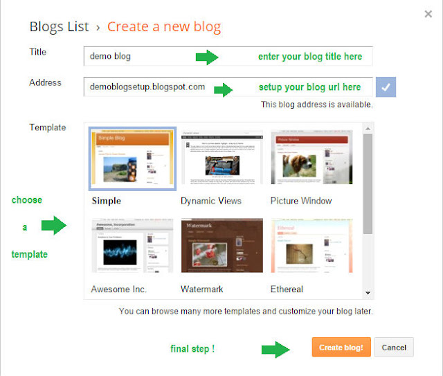 sample new window of blogger account where you can submit your blog address,title and template