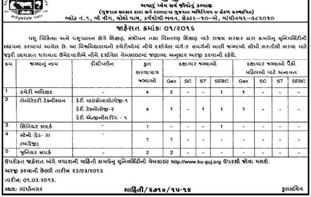Kamdhenu University Various Recruitment 2016