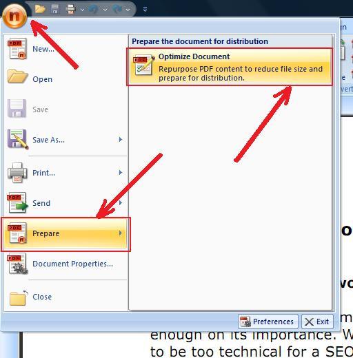 Nitro PDF Screenshot Optimize Document