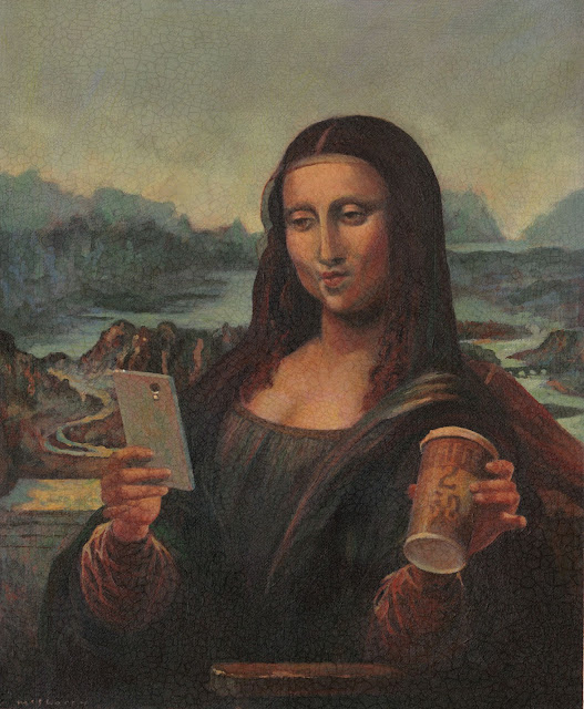 A colour hand-painted advertising  illustration in acrylics on paper of Leonardo da Vinci's Mona Lisa taking a selfie.