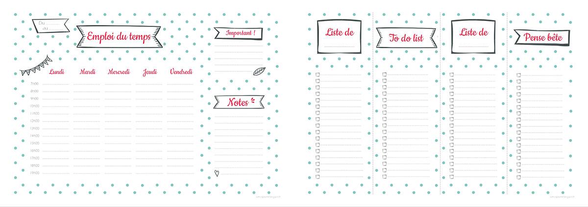 Semainier et listes à imprimer