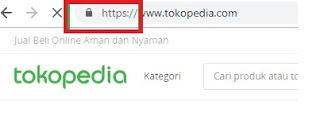 URL Tokopedia menggunakan https