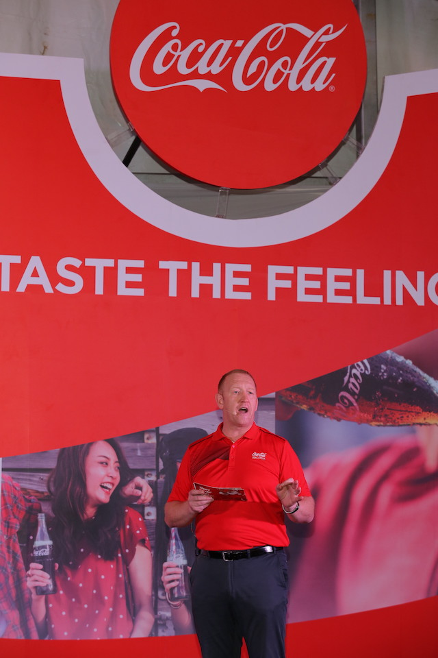 Stephen Lusk, Chief Executive Officer, Coca-Cola Bottling Investment Group, Singapore, Malaysia and Brunei, delivering his welcome speech at the reveal of new 'One Brand' strategy – Taste the Feeling in Malaysia.