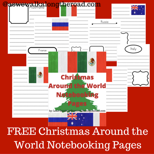 Free Christmas Around the world notebooking pages