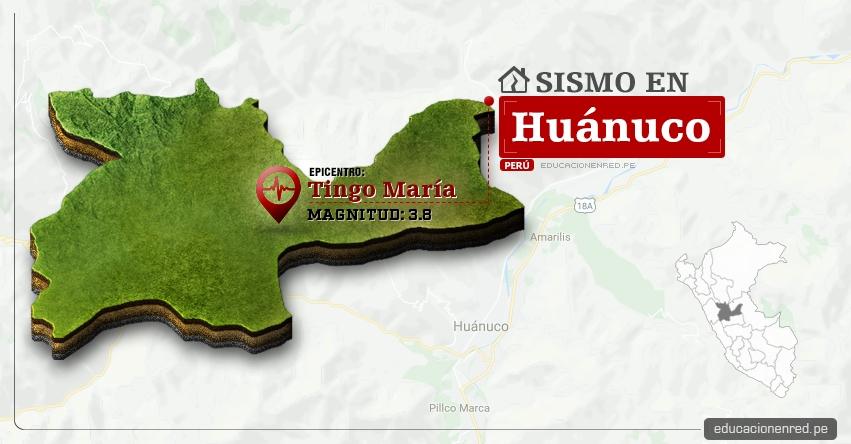 Temblor en Huánuco de 3.8 Grados (Hoy Lunes 24 Abril 2017) Sismo EPICENTRO Tingo María - Aucayacu - José Crespo y Castillo - Leoncio Prado - IGP - www.igp.gob.pe