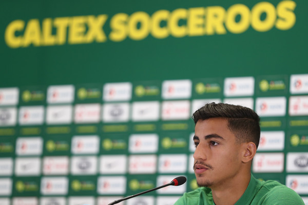 Daniel Arzani of Australia speaks during an Australia Socceroos media opportunity at Stadium Trudovye Rezervy on June 18, 2018 in Kazan, Russia.