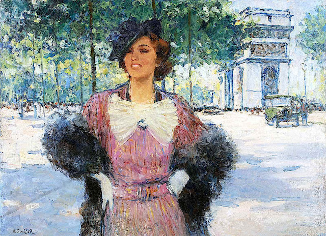 a Victor Guerrier painting of a modern woman in public