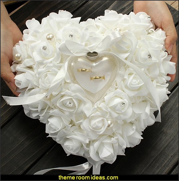 Rose Heart ring pillows romantic wedding decorations  Wedding decorations - bridal bouquets  - wedding themes - wedding decorating props - wedding supplies - wedding dress for bride - favor boxes - bridal veils -