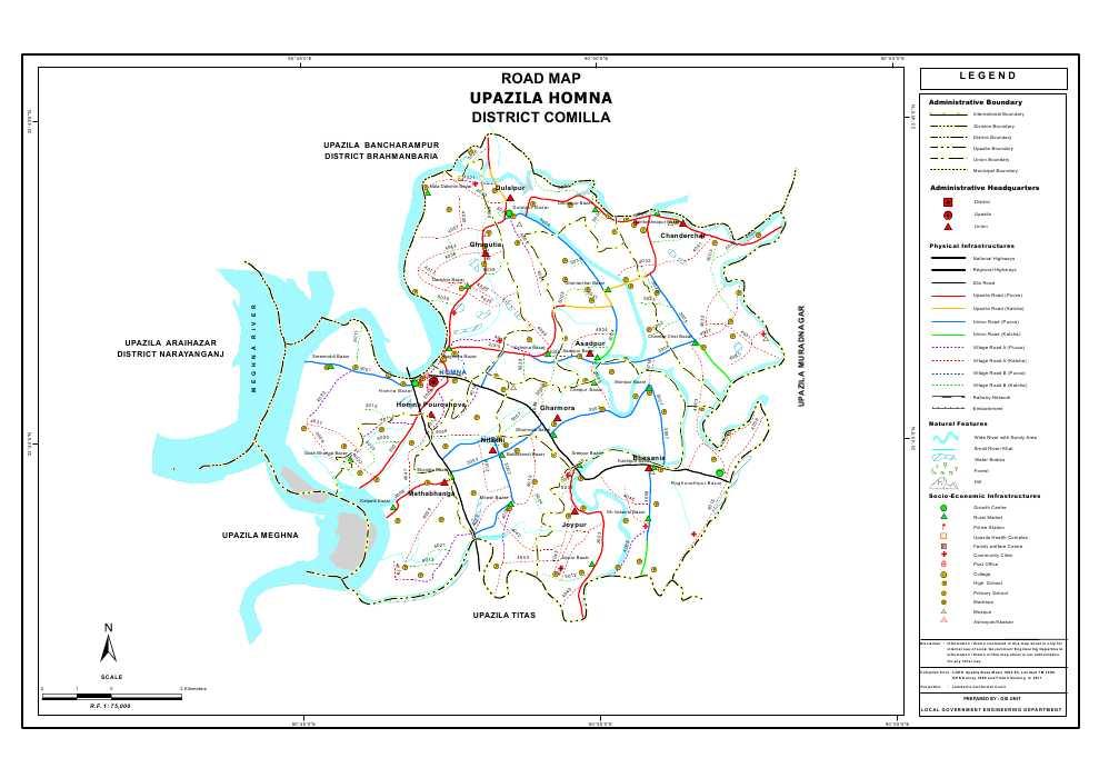 Homna Upazila Road Map Comilla District Bangladesh