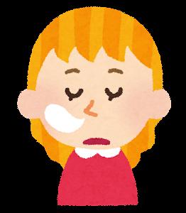 白人の女の子の表情イラスト「居眠り」