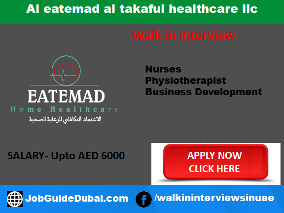 Job in Dubai for Nurse, physiotherapist and Business Development Manager