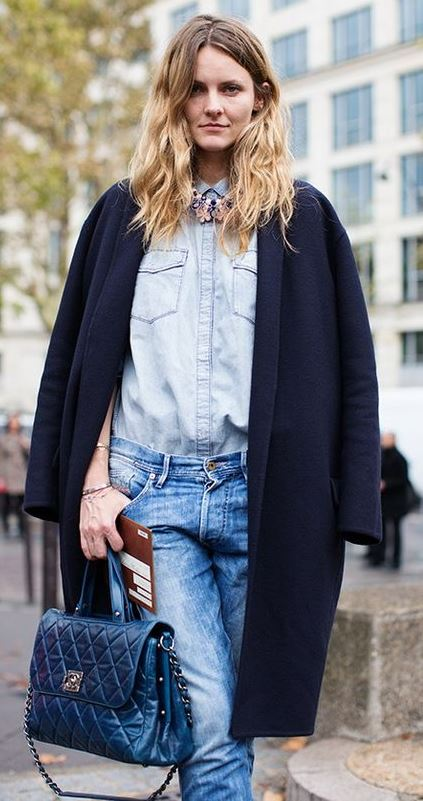 how to style a black coat : shirt + bag + boyfriend jeans