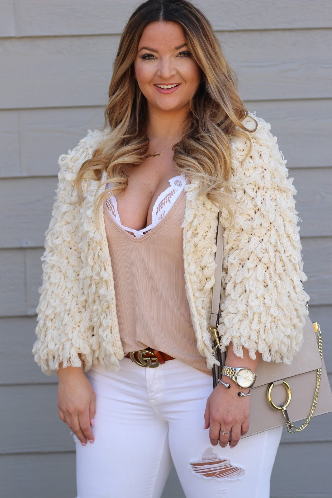 Shaggy Cardigan by popular Denver fashion blogger Delayna Denaye