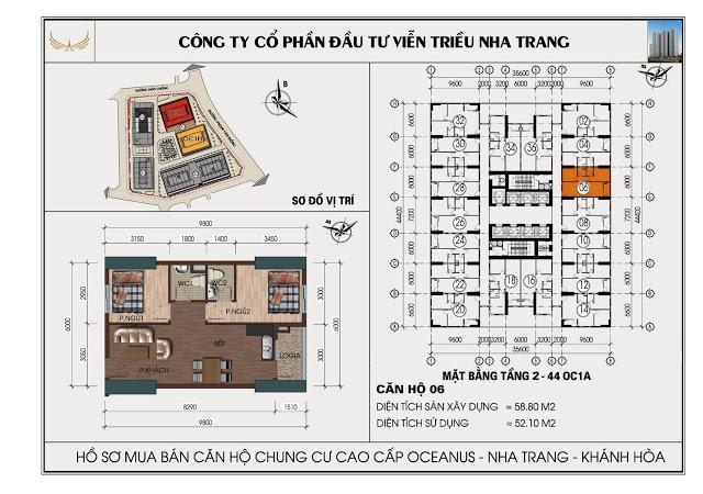 Sơ đồ căn hộ số 06 tòa OC1A Viễn Triều Nha Trang