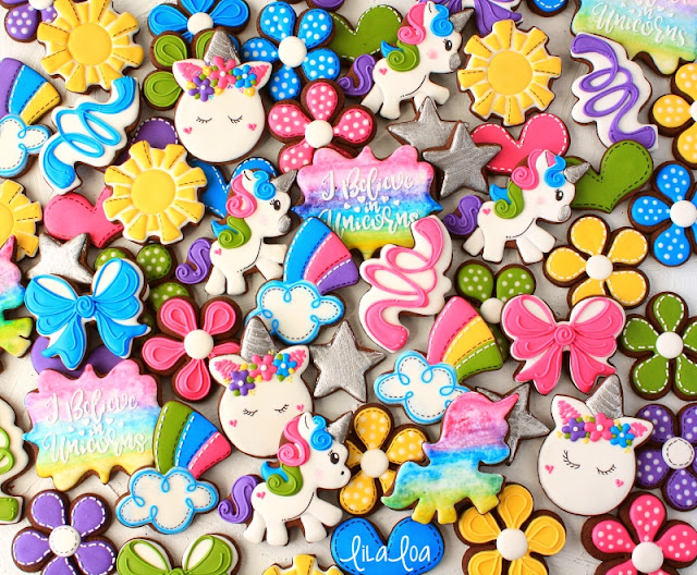 Unicorn, sunshine, rainbow and flower sugar cookies