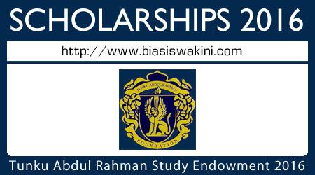 Tunku Abdul Rahman Study Endowment (BPTAR) 2016