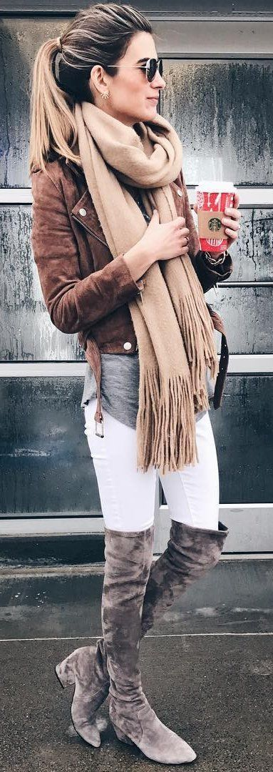what to wear with a nude scarf : brown jacket + top + white skinnies + over knee boots