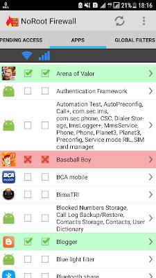 Daftar Aplikasi yang diijinkan dan di Blok
