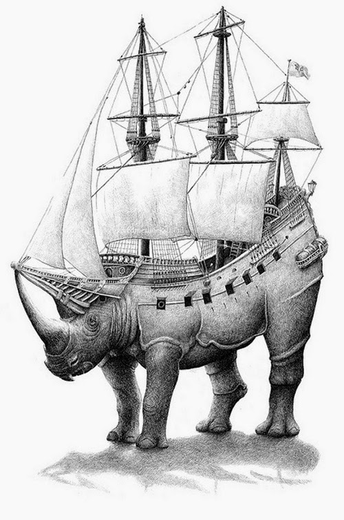 05-Rhino-Ship-Redmer-Hoekstra-Surreal-Animals-Ink-Drawings-www-designstack-co