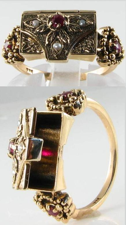 Victorian-inspired seed pearl and ruby poison ring