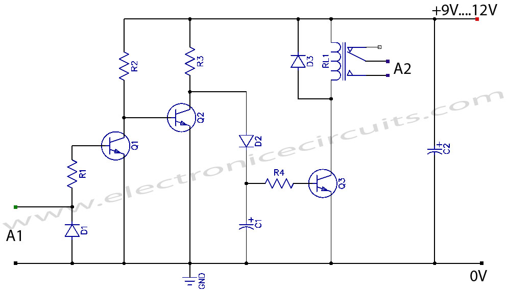 2n2222 npn based vcr camera video detector switch controller circuit