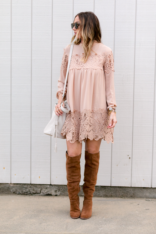 blush long sleeve dress parlor girl