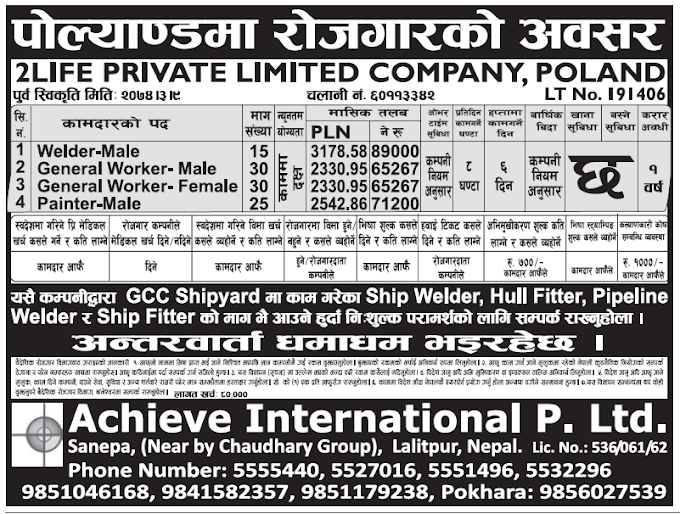 Europe Poland Jobs for Nepali, Salary Rs 89,000