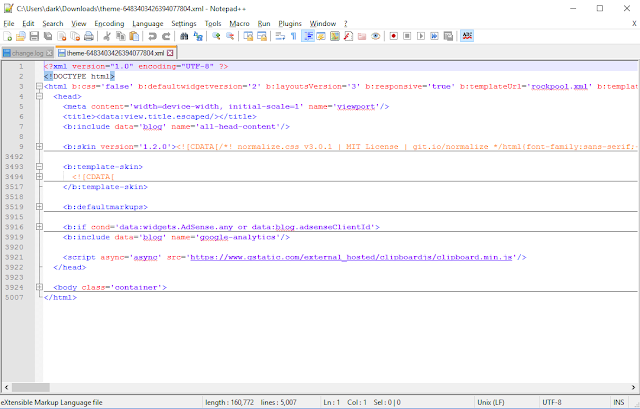 Notepad ++ to read and edit blogger template xml file