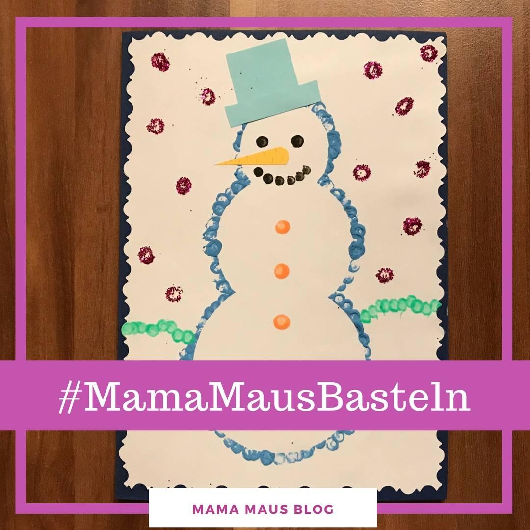 Schneemann-Weihnachtskarte mit Kindern basteln
