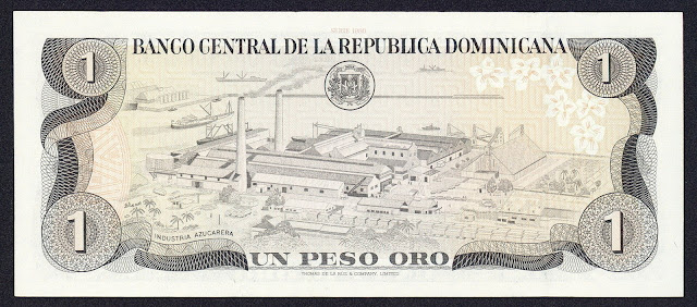 Dominican Republic money 1 Peso Oro banknote 1980 Sugar Refinery at Río Haina