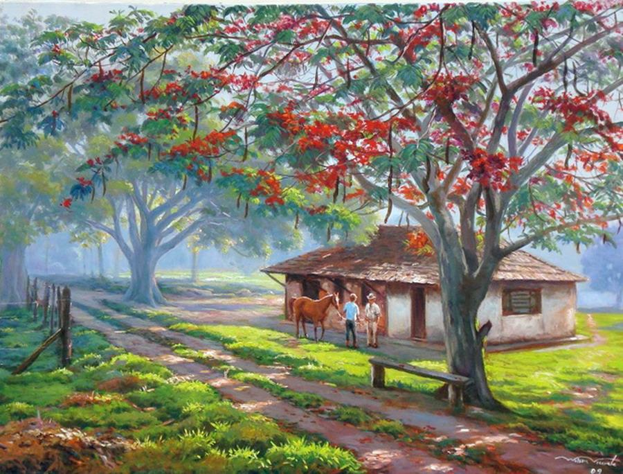 Cuadros pinturas oleos lindos cuadros paisajes de campo for Pinturas para casas de campo