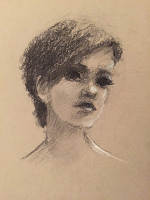 portrait of a woman drawn in vine charcoal on toned paper with accents of white