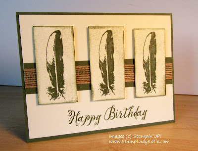 Card with a trio of feathers  made with Stampin'UP!'s Feather Together stamp set
