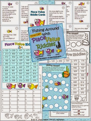 http://www.teacherspayteachers.com/Product/Place-Value-Riddles-for-Three-Digit-Numbers-Fishing-Around-1390694