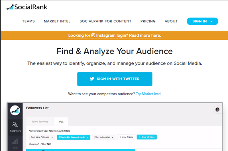 Understand your Twitter and Instagram audience with SocialRank