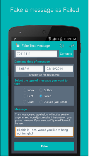 Fake sms Generator apk app free & direct download for