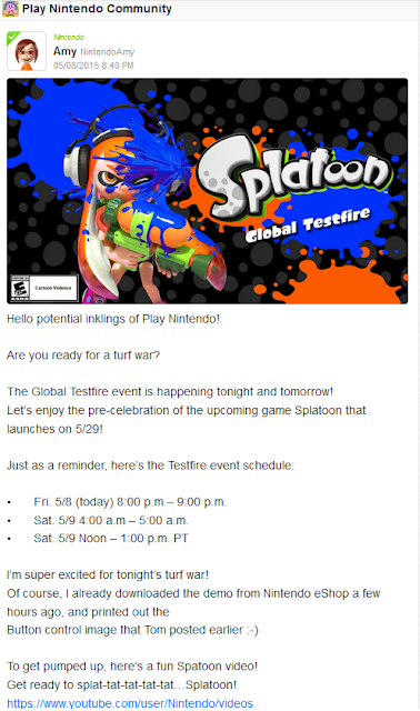 Amy Miiverse Nintendo Splatoon Global Testfire announcement schedule