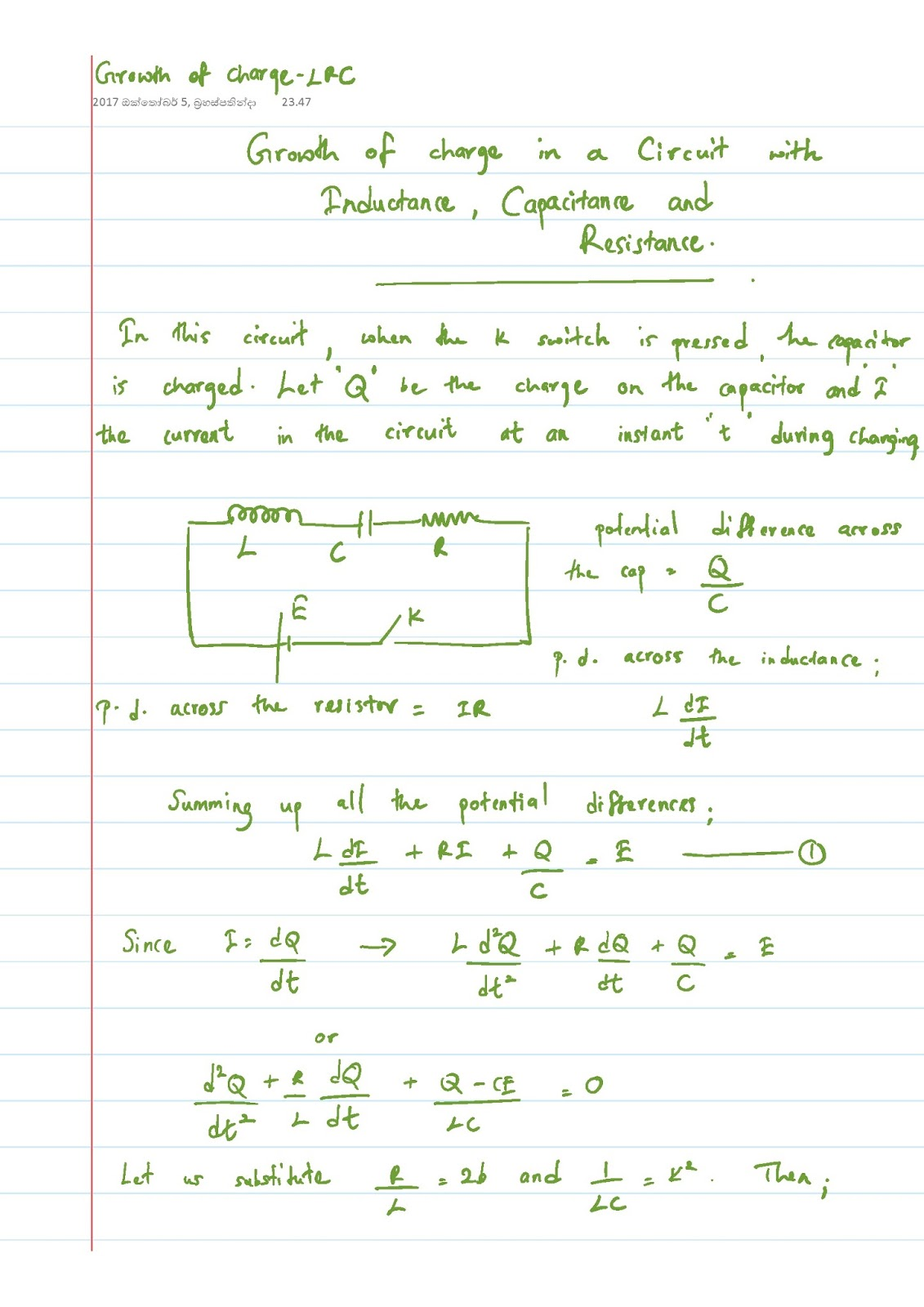 Lecture Notes in Physics : Growth of Charge - LCR Circuit