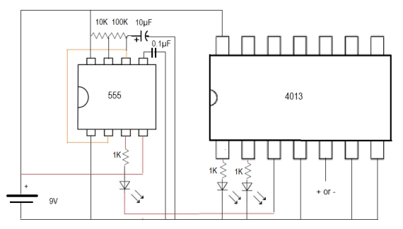 4013 dual d flip-flop  this circuit demonstrates the use of 4013 ic  either  the led on pin 1 (q) or the one on pin 2 (not-q) lights up whenever the  data