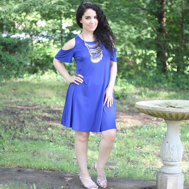 Blue Cold-Shoulder Dress