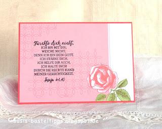 """christliche Trostkarte Jesaja 41 mit dem Stampin' Up! Kartensortiment """"Erinnerungen und mehr"""" Blumengarten"""