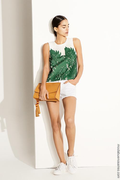 Blusas, remeras, musculosas y shorts de moda mujer | Moda primavera verano 2018.