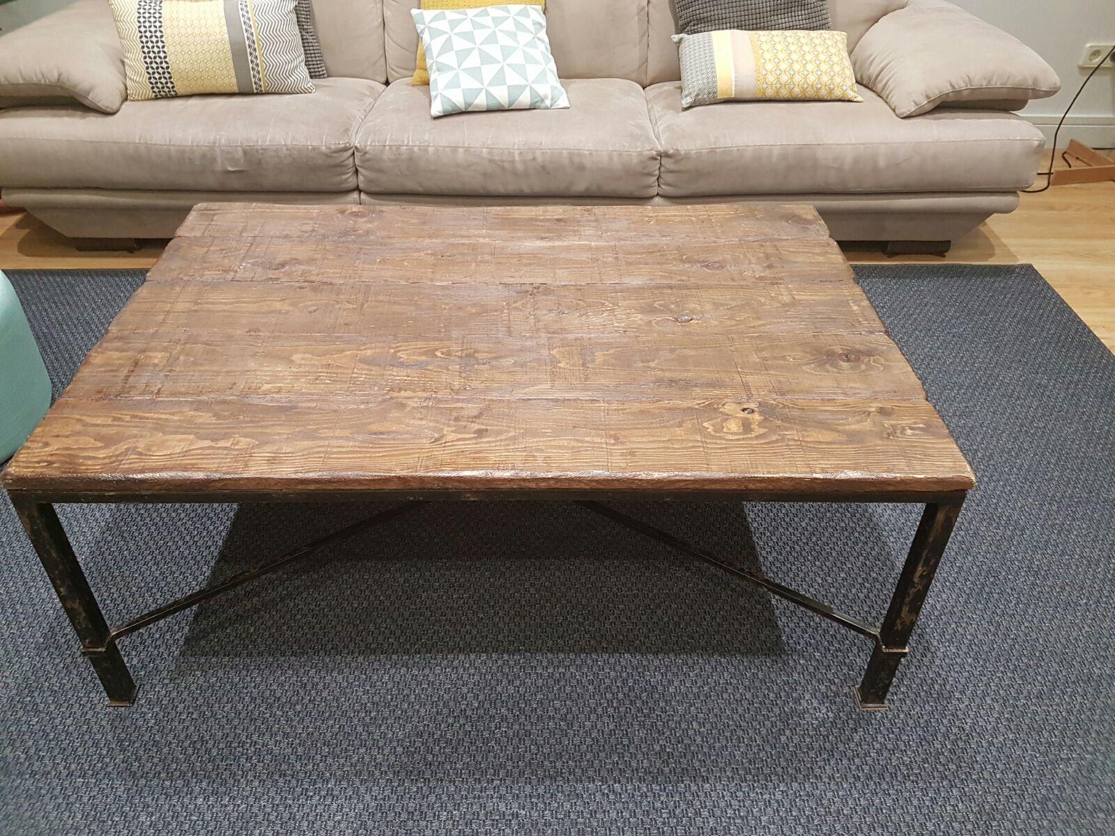 Artesan a r stica en madera mesa r stica de forja y - Mesa baja salon ikea ...