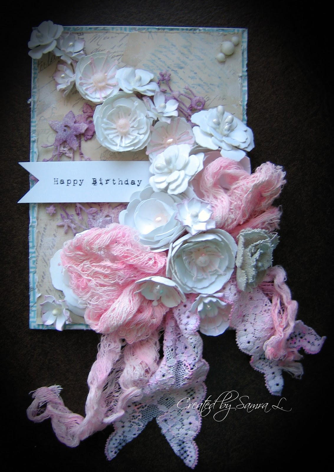 Shabby Chic Floral Birthday Card
